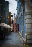 五颜六色的街道在老圣胡安波多黎各 免版税库存照片