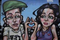 五颜六色的街道画在克罗伊登,英国 库存图片
