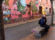 五颜六色的街道街道画瓦尔帕莱索在智利 图库摄影