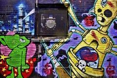 五颜六色的街道街道画 免版税库存照片
