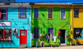 五颜六色的街道,哈利法克斯,新斯科舍,加拿大 免版税库存照片