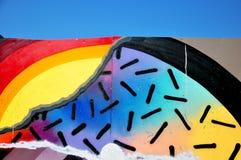 五颜六色的街道画墙壁 免版税库存图片