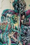 五颜六色的街道画艺术品当街道艺术在墨尔本,澳大利亚 库存图片