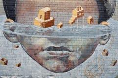 五颜六色的街道画艺术品当街道艺术在墨尔本,澳大利亚 免版税库存照片