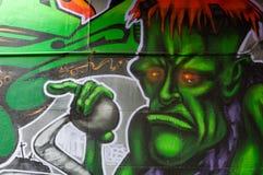 五颜六色的街道画艺术品当街道艺术在墨尔本,澳大利亚 库存照片