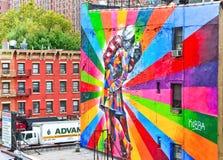 五颜六色的街道画艺术品看法在纽约 库存照片