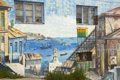 五颜六色的街道画艺术在瓦尔帕莱索,智利 库存照片