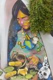五颜六色的街道画艺术在瓦尔帕莱索,智利 库存图片