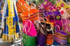 五颜六色的袋子法国人市场 库存图片