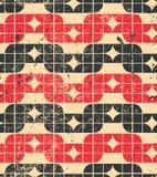 五颜六色的被佩带的纺织品几何无缝的样式、黑色和红色 库存图片