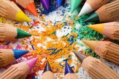 五颜六色的被削尖的铅笔 免版税库存照片