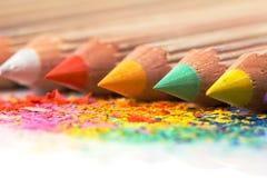 五颜六色的被削尖的铅笔 库存图片