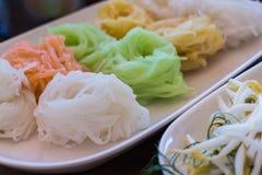 五颜六色的被发酵的米粉面条 库存照片