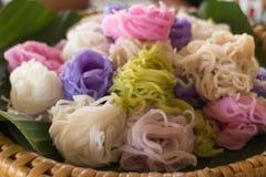 五颜六色的被发酵的米粉面条 图库摄影