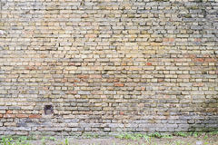 五颜六色的被放弃的难看的东西破裂的砖灰泥墙壁 库存照片