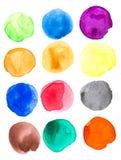 五颜六色的被设置的水彩手画圈子 免版税库存照片