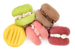 五颜六色的被隔绝的曲奇饼顶视图 库存照片