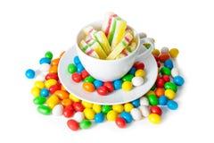 五颜六色的被隔绝的糖果和橘子果酱 选择聚焦 库存照片
