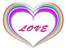 五颜六色的被绘的刷子冲程在心脏塑造背景 免版税库存图片