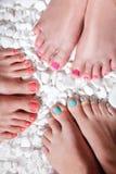 五颜六色的被绘的脚趾 图库摄影