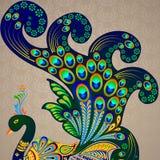 五颜六色的装饰的孔雀 免版税库存照片