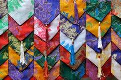 五颜六色的装饰织品样式西藏 库存照片