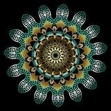 五颜六色的装饰葡萄酒3d希腊坛场样式 传染媒介表面回合花饰 蔓藤花纹样式花,叶子,线 向量例证