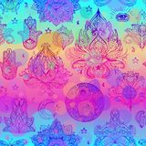 五颜六色的装饰Boho样式Eleme的彩虹无缝的样式 向量例证