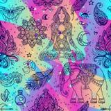 五颜六色的装饰Boho样式Eleme的彩虹无缝的样式 库存例证