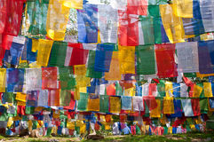 五颜六色的西藏神的旗子 图库摄影