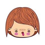 五颜六色的讽刺画kawaii面对有愤怒的表情的小男孩 库存例证