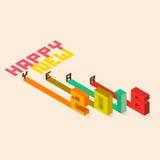 五颜六色的设计新年快乐2016年 向量例证