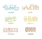 五颜六色的象室家具概述 向量 库存图片