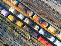 五颜六色的货车鸟瞰图  库存图片