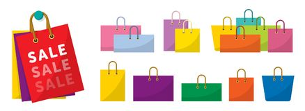 五颜六色的购物袋传染媒介,销售袋子 皇族释放例证