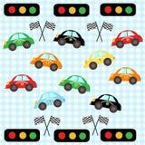 五颜六色的赛车 哄骗室汽车传染媒介例证样式墙纸 免版税库存图片