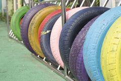 五颜六色的轮胎 库存照片