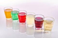 五颜六色的软饮料 库存照片