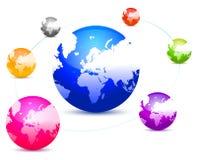 五颜六色的连接数地球 免版税库存图片