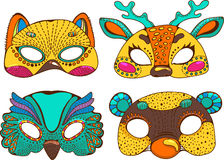 五颜六色的逗人喜爱的动物面具 库存图片