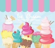 五颜六色的逗人喜爱的动画片冰淇淋例证 向量例证