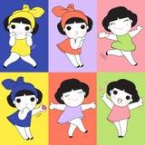 五颜六色的逗人喜爱的女孩字符例证集合 皇族释放例证