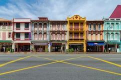 五颜六色的遗产大厦在新加坡唐人街 免版税库存照片