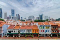 五颜六色的遗产大厦在新加坡唐人街 免版税库存图片