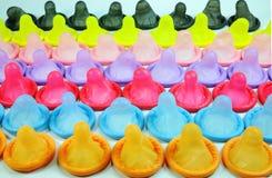五颜六色的避孕套 库存图片