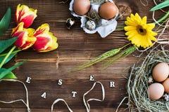 五颜六色的郁金香用在木的鸡蛋 愉快的复活节 春天…上升了叶子,自然本底 免版税库存图片