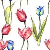 五颜六色的郁金香 花卉植物的花 无缝的背景模式 织品墙纸印刷品纹理 库存图片