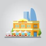 五颜六色的都市风景平的设计  库存例证