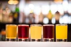 五颜六色的酒精射击 库存图片