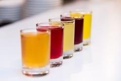五颜六色的酒精射击 免版税库存图片